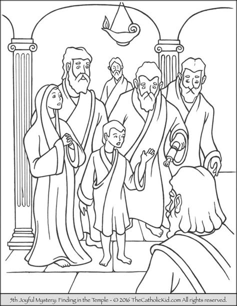 coloring pages of the joyful mysteries the 5th joyful mystery coloring page finding jesus in