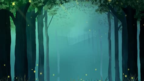 hand drawn forest firefly fantasy background hand painted