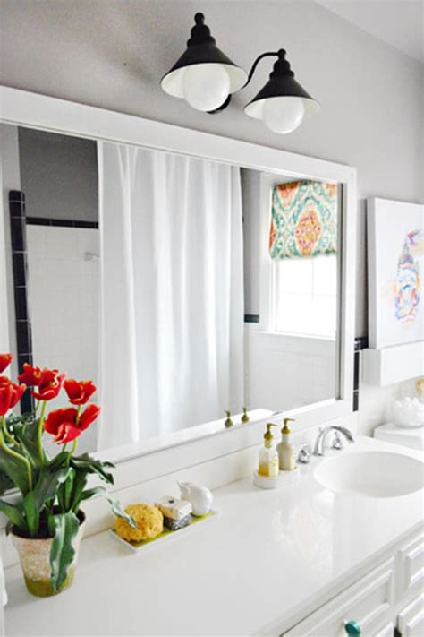10 diy ideas for how to frame that basic bathroom mirror - Frame Around Mirror In Bathroom