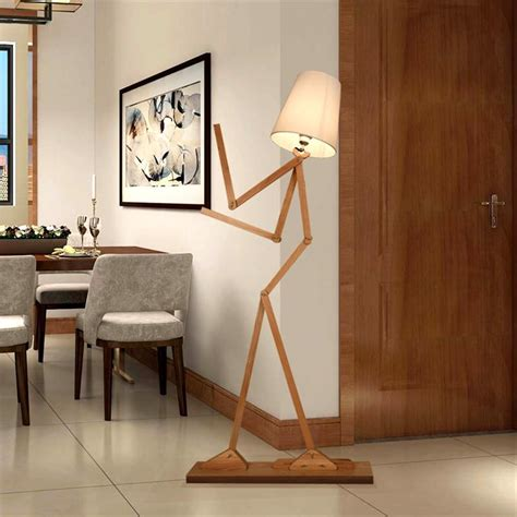 attractive Side Table Lamps For Living Room #1: Creative-Human-Figure-Floor-Lamps-Wooden-Log-Fabric-Reading-Lamp-Living-Room-Bedside-Piano-Lighting-Nordic.jpg