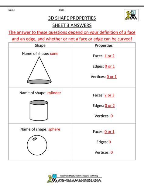 worksheet shapes grade 3 3d shapes worksheets