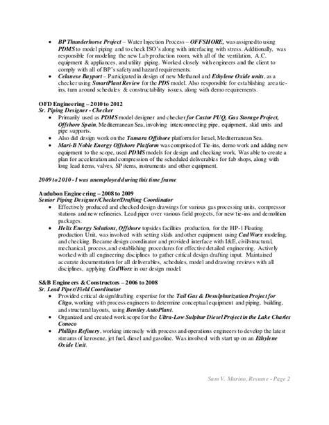 Pds Piping Designer Sle Resume by Marino Sam V Resume Piping Design 10 15