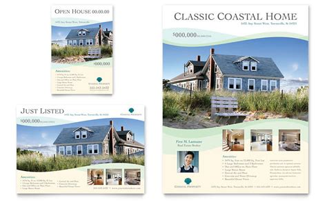 Coastal Real Estate Flyer Ad Template Word Publisher Microsoft Real Estate Templates