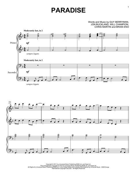 sheet music paradise paradise sheet music by coldplay piano duet 163572