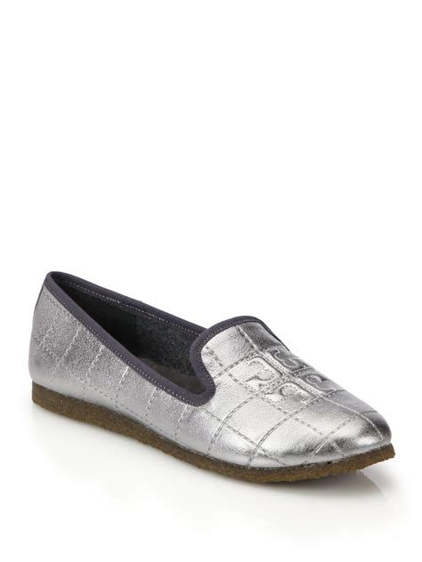 tory burch house shoes tory burch cowley metallic leather embossed logo slippers in silver lyst