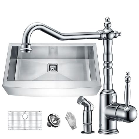 farmhouse faucet kitchen anzzi elysian farmhouse stainless steel 36 in single bowl
