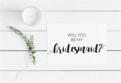 Will You Be My Bridesmaid Modern Minimalist Free Printable Card Will You Be My Godmother Free Template