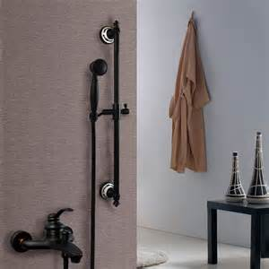 single handle rubbed bronze tub shower faucet set with