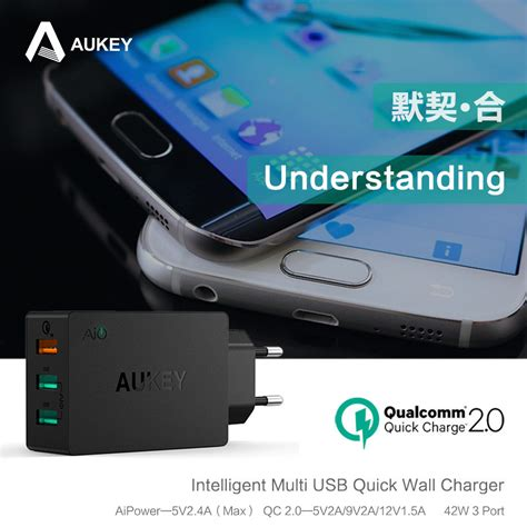 Aukey Usb Charger With Qualcomm Charge 20 Aipower aukey usb desktop wall charger 3 port eu 42w with