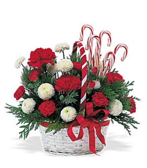 christmas candy cane basket christmas flower delivery in