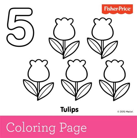 Number 5 Coloring Pages For Toddlers by Learning To Count Number 5 Pretty Tulips Growing In