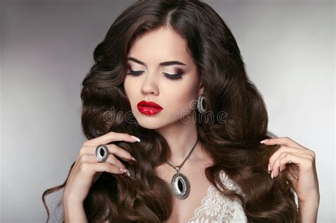 beautiful model with elegant hairstyle stock photo hair beautiful model with elegant wavy long hairstyle