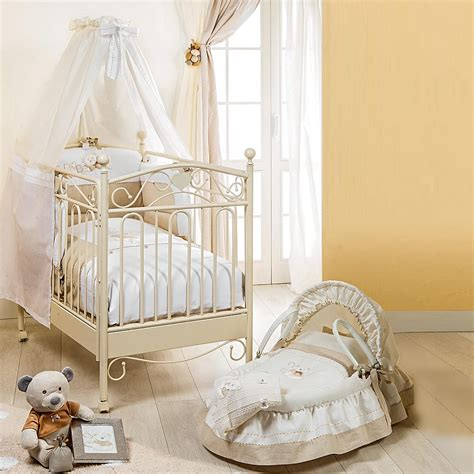 Wrought Iron Baby Crib Classic Design Baby Nursery Crib On Wheels Wooden Structure At My Italian Living Ltd