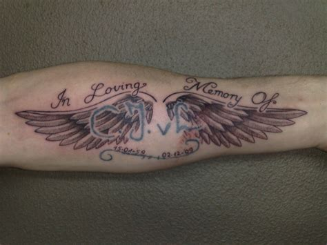 angel tattoos in memory of memory wings busbones