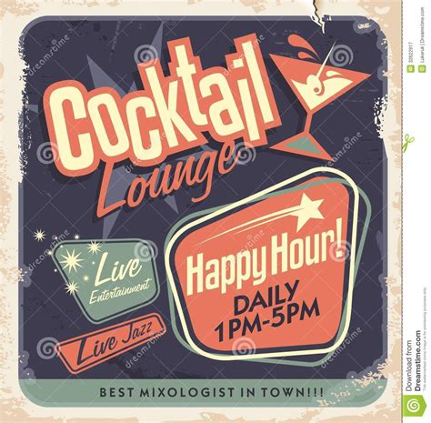 vintage cocktail poster retro poster design cocktail lounge vector concept