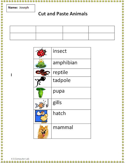 cut  paste animal  insect words