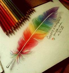 colorful drawing colorful feather by cielcode on deviantart