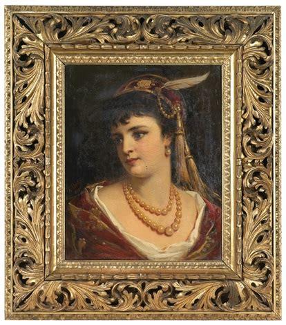 len jungen portrait einer jungen dame mit perlenschmuck by anton