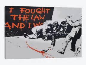 Chandeliers Rustic I Fought The Law And I Won Canvas Wall Art By Banksy Icanvas