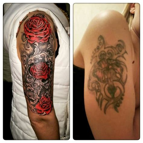 shoulder cover up tattoos bush cover up design
