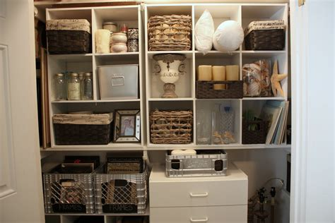 Shelf Closet Organizer by Organizing A Junk Closet With Cube Storage Units