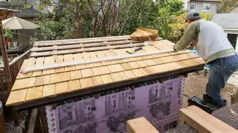 installing shingles   garden shed roof youtube