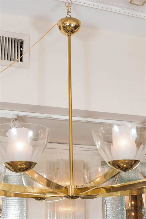 Chandelier Bobeche Eight Arm Brass Chandelier With Clear Glass Bobeches For Sale At 1stdibs