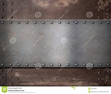 with metal metal plate with rivets rustic steel stock image