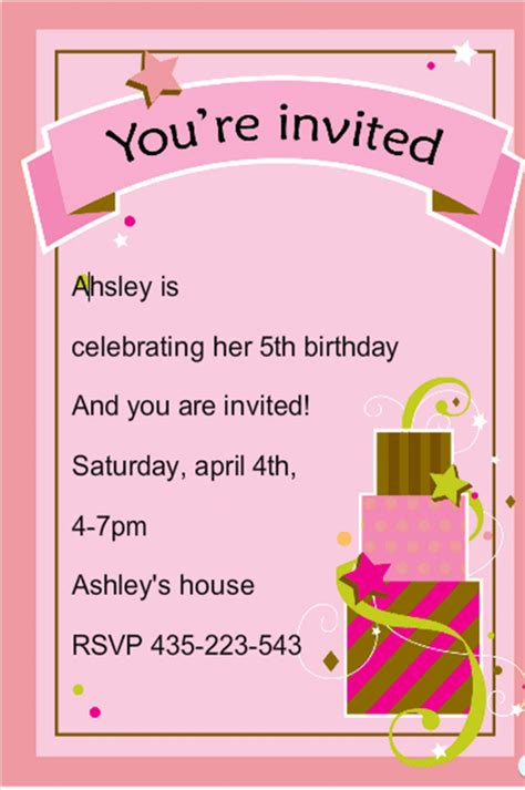 birthday invitation card template gangcraft net