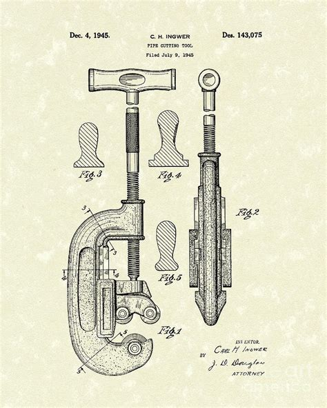 draw tool design cutting tool 1945 patent drawing by prior design