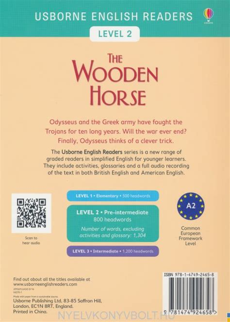 the wooden horse usborne usborne english readers the wooden horse level 2 nyelvk 246 nyv forgalmaz 225 s nyelvk 246 nyvbolt