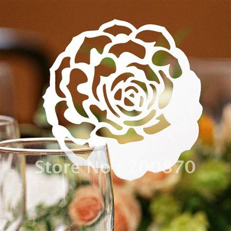 Ec1108 05 12pcs Pack Laser Cutting Rose Place Card On