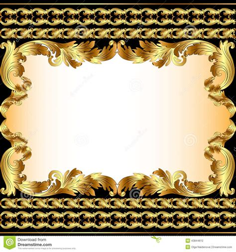 gold pattern border vintage background with gold pattern and border stock