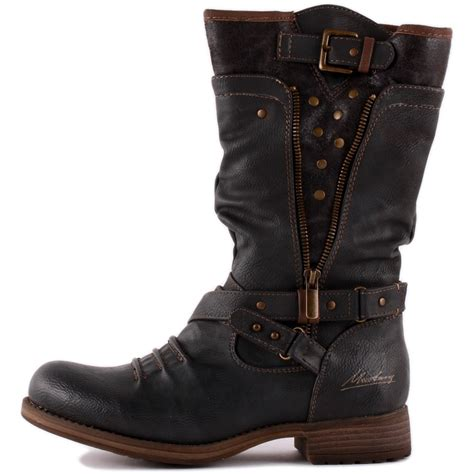 ladies biker style boots mustang 1139 609 20 womens biker boots in dark grey