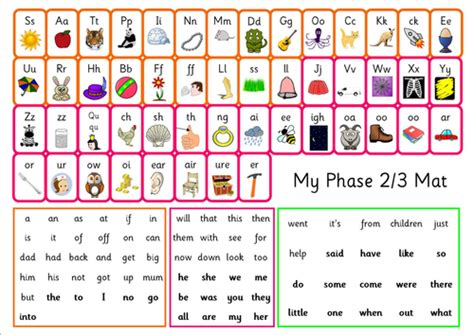 phase 2 letters and sounds mat phonics phase 2 3 mat with high frequency words 3 font