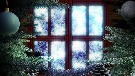 animated holiday christmas window  winter landscape background stock footage video