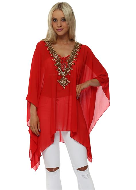 beaded kaftan tops beaded diamante chiffon kaftan top