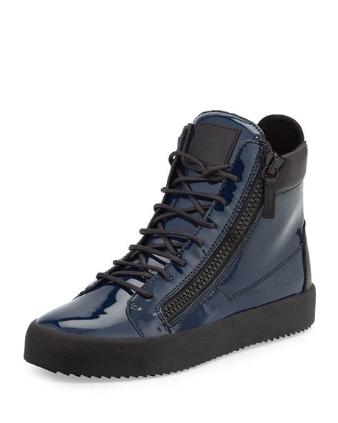 mens giuseppe sneakers giuseppe zanotti patent leather high top sneakers in blue