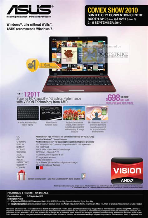Laptop Asus Vision Amd asus notebook 1201t amd vision comex 2010 price list brochure flyer image