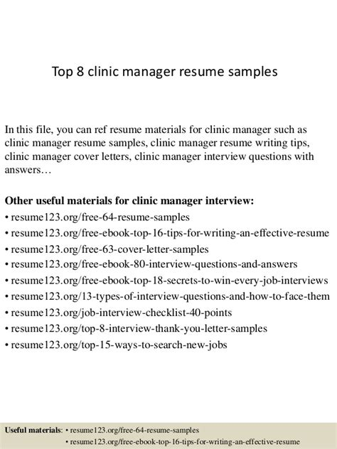 Clinic Manager Sle Resume by Top 8 Clinic Manager Resume Sles