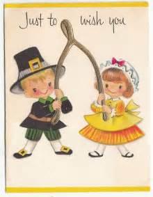 vintage children with golden wishbone thanksgiving greeting card