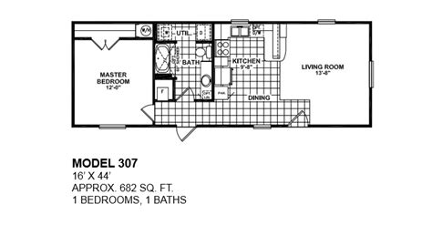 2 Bedroom 1 Bath Mobile Home Floor Plans | model 307 16x44 1bedroom 1bath oak creek mobile home