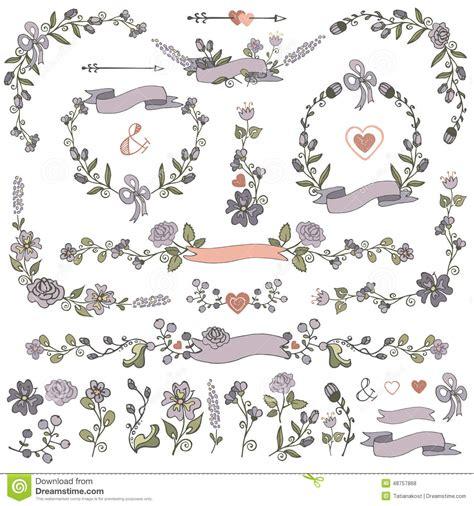 doodle flower border colored doodles borders frames wreath floral decor set