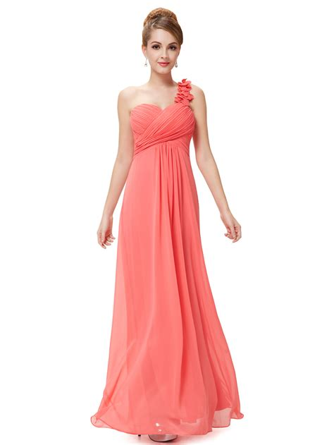 long bridesmaids evening party dress chiffon one shoulder