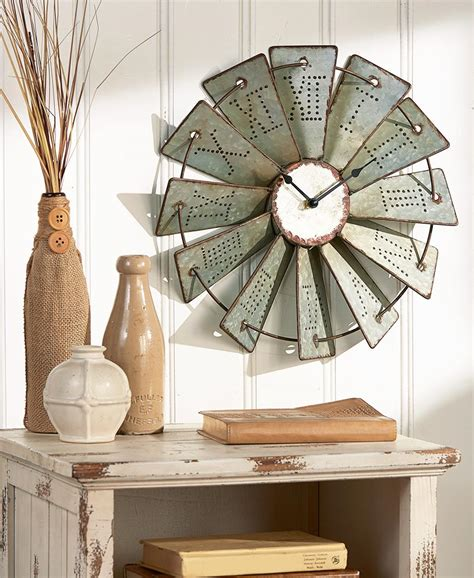 aluminium home decor metal windmill wall clock roman numerals farm landmark