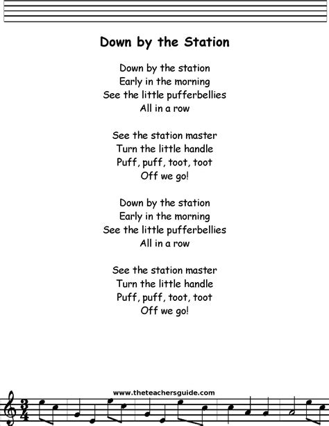 Down by the Station Lyrics, Printout, MIDI, and Video
