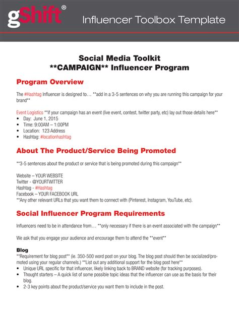 Influencer Marketing Toolkit Template Gshift Influencer Marketing Template