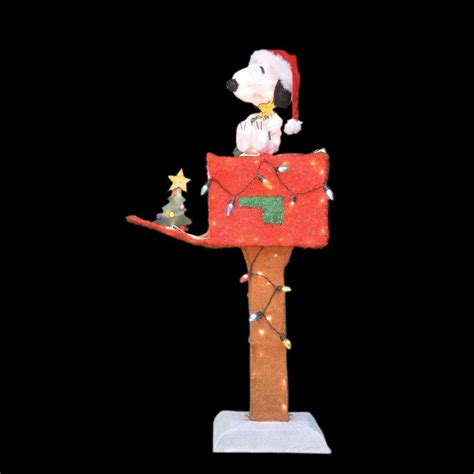 Snoopy Yard Decorations - peanuts 48 in 3d pre lit led yard snoopy mailbox