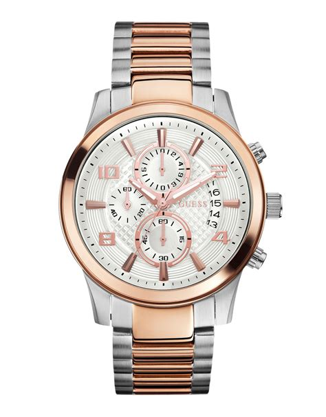 Guess Gs0277 Pink Rosegold lyst guess two tone gold silver chronograph in pink for
