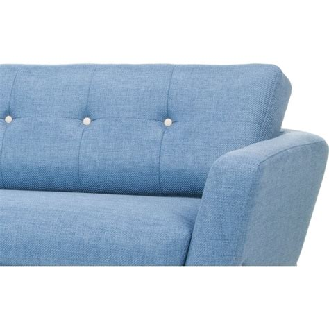 helgrim 3 seater fabric upholstered sofa denim blue buy